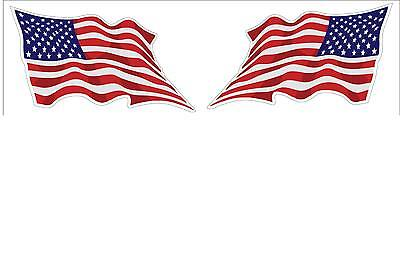 USA American Wavy Flag 1 Pair Decal Stickers LH and RH 3x5 American Pride FLG15