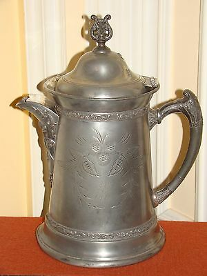 Antique Engraved Silverplate Tea Pot/ Water Pitcher/jug  Marked B.c. Aurora 1869