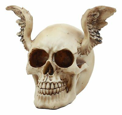 Winged Devil Demonic Head Skull Skeleton Figurine Collection Statue Halloween