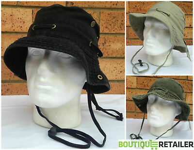 Washed Cotton Bucket Hat Wide Brim Canvas Band Fishing Cap With String HSM9007