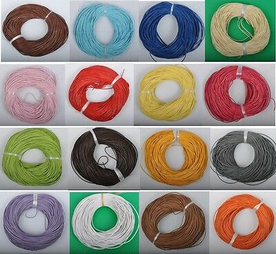 2Yards Genuine round Leather cord Cowhide 1MM 1.5MM 2MM 3MM 18colors U PICK