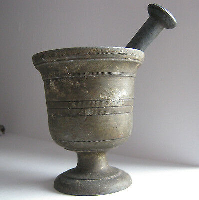 ۞  19thC Early antique primitive mortar and pestle metal retro decor OLD .../14/