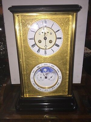An antique Victorian French Perpetual calendar mantle clock,