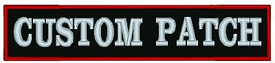 """Custom Embroidered 11"""" x 4"""" Name Patch  Motorcycle Biker Tag"""