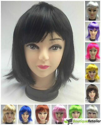 Bob Wig Costume Short Straight Fringe Cosplay Party Full Hair Womens Fancy Dress
