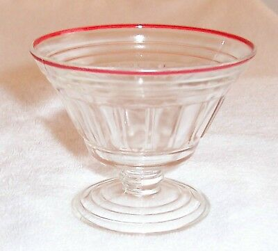 New Century Crystal W/ Red Rim Footed Sherbet