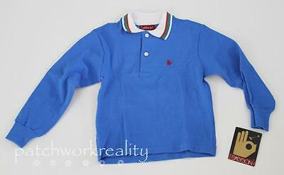 NWT SASSON Vintage ROyal BLue Long Sleeve Polo Shirt boys Size 7 80's!!!