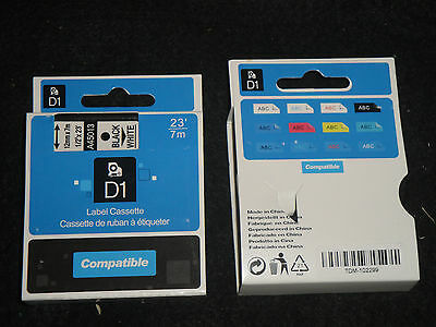 "1 Dymo COMPATIBLE D1 Labels BLACK ON White Labeling Tape 45113 45013 1/2""  X 23'"