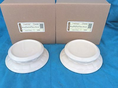 2 IVORY Candle Holder Cheeseball Plate Dish Wedding Centerpiece Longaberger New