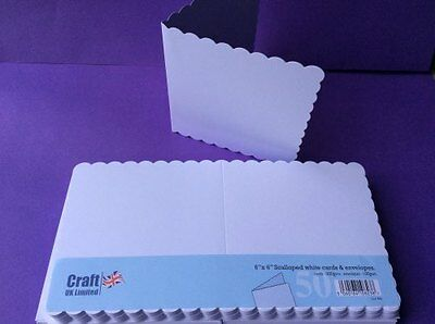 "6"" x 6"" WHITE SCALLOPED CARDS(300GSM)& ENVELOPES(100GSM)-50PK-SCORED FREE POST"