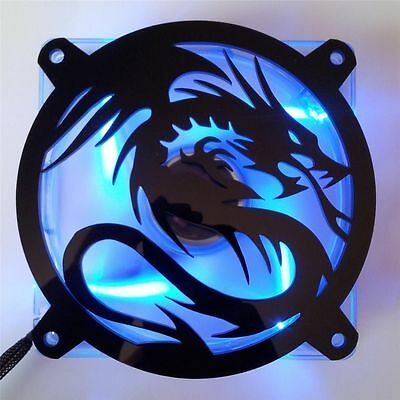 Custom 92mm FLYING DRAGON Computer Fan Grill Gloss Black Acrylic Cooling Cover