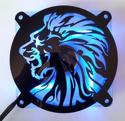 Custom 92mm LION HEAD Computer Fan Grill Gloss Black Acrylic Cooling Cover Mod