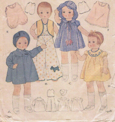 """1918 Vintage Chubby Doll Pattern Size 14"""" -- Year 1933"""