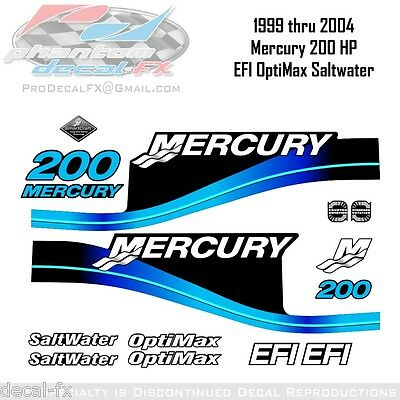 1999-04 Mercury 200HP Blue Decals EFI OptiMax Saltwater 15pc Repro Outboard