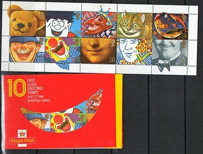 GB 1990 Greetings Smiles Booklet KX1 SG1483-1492 mint stamps