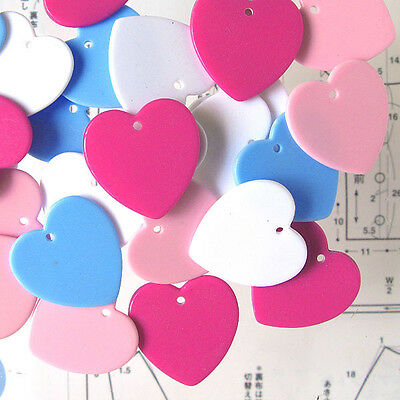 Acrylic Heart Chip Beads, Mix Color, 22x22mm