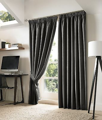 NEVIN BLACKOUT LINED CURTAINS SLATE INC TIEBACKS...9 Sizes Available.
