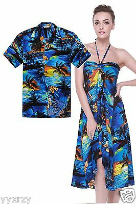 Couple Matching Shirt Dress Set Hawaiian Cruise Valentine Wedding Sunset Blue