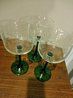 Vintage French Luminarc Green Stem Set Of 2 Wine / Goblet Cordials Glass