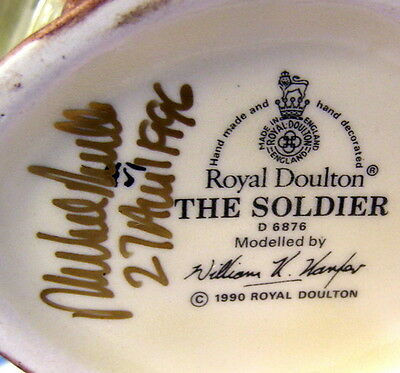 ** ROYAL DOULTON Character Jug - The SOLDIER - w FOX - signed by MICHAEL DOULTON