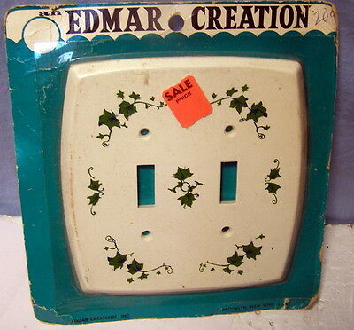 ** Vintage -- EDMAR CREATIONS -- pretty WHITE w IVY - outlet switch cover