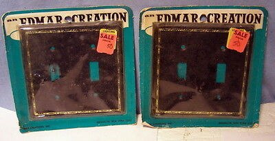 ** Lot of 2 - VINTAGE * EDMAR CREATIONS * BLACK & Gold #2 - OUTLET switch Covers