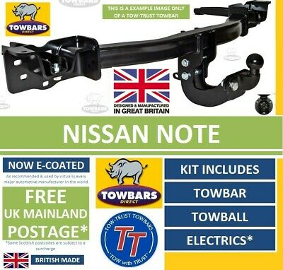 Towbar for Nissan Note 2006 to 2013 (E11) (Inc Pure Drive) Flange Tow Bar Kit