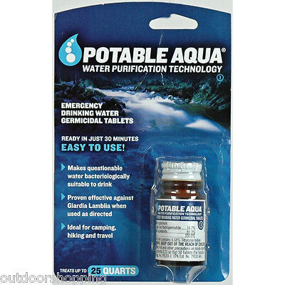 POTABLE AQUA WATER PURIFICATION TABLETS - 50 Emergency Drinking Tablets