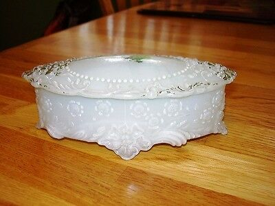 EXCEPTIONAL EAPG WHITE GLASS OVAL TRINKET BOX W/LID-FLOWERS BEADS W/COLOR ACCENT