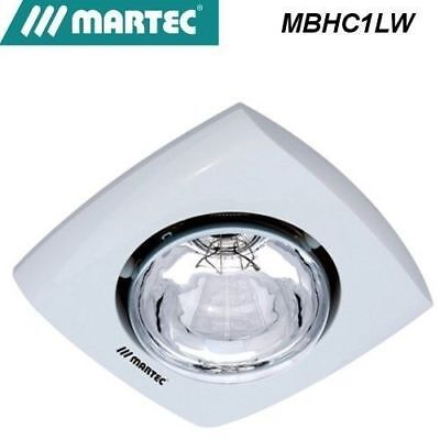 Martec Contour 1  Bathroom Heater is a stylish simple heat lamp unit white