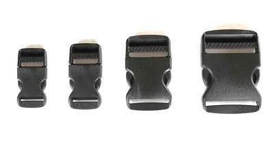 Black 16 20 25 32 38 50mm Plastic Side Quick Release Buckle Clip Cord Strap Bag