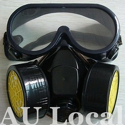 Dual Cartridge Respirator Dust Paint Filter Mask Goggles Protective TMASK0201