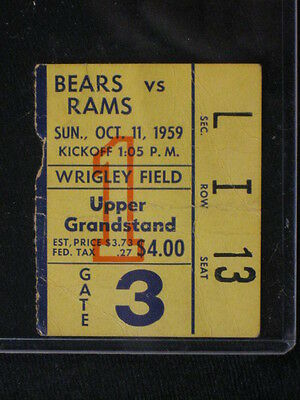 1959 Rams at Chicago Bears Ticket Stub Bears 28 Rams 21