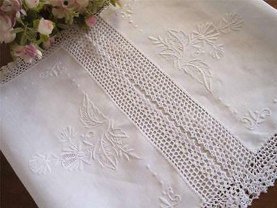 Coming Again! Hand Flower Embroidery Hemstitch Crochet Lace Cotton Table Runner