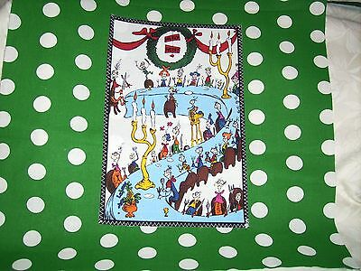 """Pillow COVER 16"""" Dr. Seuss Grinch everyone at the table green #2"""