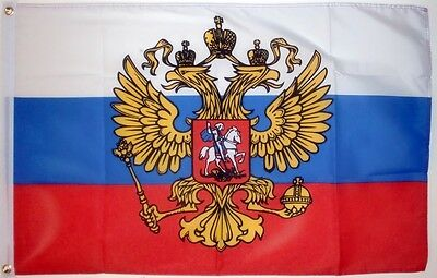 RUSSIA WITH CREST 3 X 2 FEET FLAG Russian Moscow socialist communist flags