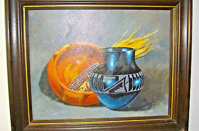 Navajo Original Framed Oil Painting Signed by Daniel Yazzie 1980 Collectible USA