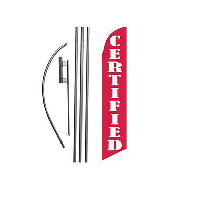 Certified (red) 15' Feather Banner Swooper Flag Kit with pole+spike