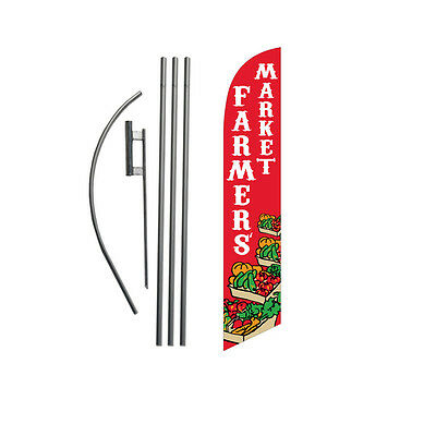 Farmers Market 15' Feather Banner Swooper Flag Kit with pole+spike