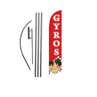 GYROS 15' Feather Banner Swooper Flag Kit with pole+spike