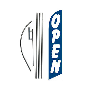 Open (blue/white) 15' Feather Banner Swooper Flag Kit with pole+spike