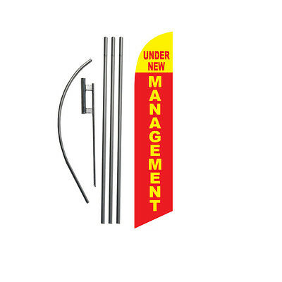 Under New Management 15' Feather Banner Swooper Flag Kit with pole+spike
