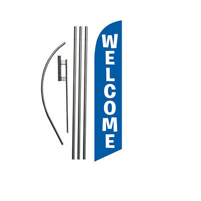 Welcome (blue) 15' Feather Banner Swooper Flag Kit with pole+spike