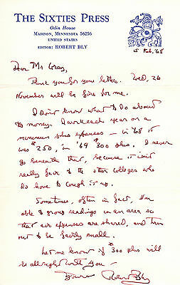 Robert Bly - Three Autograph Letters Signed and One Typed Letter Signed