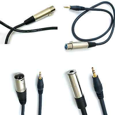 USA 3.5mm 1/8 to XLR 1/4  heavy duty Cable Stereo audio 3pin Mixer Speaker 1-5ft