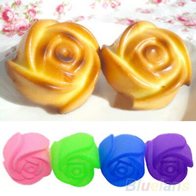 10X Rose Muffin Cookie Cup Cake Baking Chocolate Jelly Maker Silicone Mould B77U