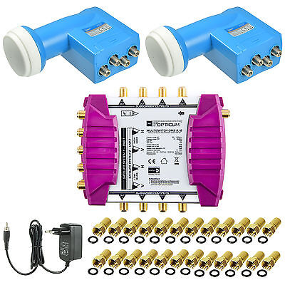 PMSE Multischalter Multiswitch 9/8 + 2 OPTICUM Quattro LNB FULL HD Digital SAT