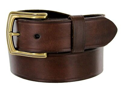 "Detroit Men's Leather Work Belt Uniform Belt 1 1/2"" Wide - Brown"