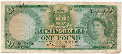 1957 Government of Fiji 1 One Pound Note in F condition