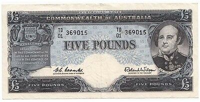 Australia 1960 Coombs Wilson 5 Pound Note RESERVE BANK EF Retail $350